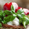 Basil with garlic and peppers — Stock Photo