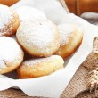 Donuts homemade with powdered sugar — Stock Photo