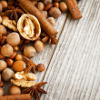 Nuts and Spices on Wooden Background — Stock Photo #33828847