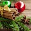 Stock Photo: Cinnamon sticks on festive celebration background
