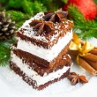 Cream cookies with coconut flakes and Christmas decoration — Stock Photo