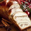 Sweet Bread on Christmas Decorated Background — Stock Photo #34887965