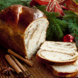 Sweet Bread on Christmas Decorated Background — Stock Photo