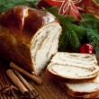 Sweet Bread on Christmas Decorated Background — Stock Photo #34887979