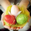 Hands Holding Easter Eggs — Stock Photo