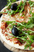Closeup of Pizza Margherita with Arugula and Olives — Stock Photo