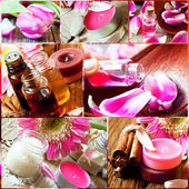 Aromatherapy Collage.Spa Essences Settlement — Stock Photo