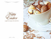 Easter Greeting with Painted Easter Eggs — Stock Photo