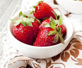 Strawberries in White Bowls — Stock Photo