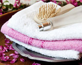 Spa Towels with Perfume and Brush — Stock Photo