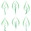 Set of green leafs — Stock Vector
