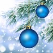 Christmas ornaments and frozen pine fir — Stock Photo