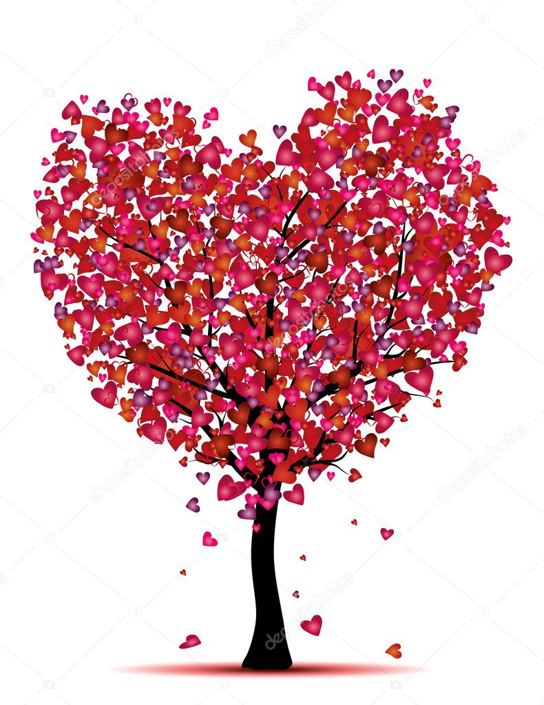 Beauty heart tree,love concept — Stock Vector #18955697