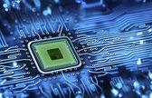 Microchip geïntegreerd op systeemkaart — Stockfoto