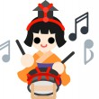 Royalty-Free Stock Obraz wektorowy: Girls\' Festival  Five musicians(small drum)