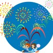Stock Vector: Fireworks of midsummer-2