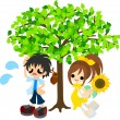 Stock Vector: In shade of tree in midsummer.