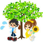 In the shade of a tree in the midsummer. — Stock Vector