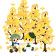 Under the tree of ginkgo-2 — Stock Vector
