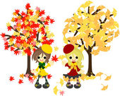Red leaves and yellow leaves-3 — Stock Vector