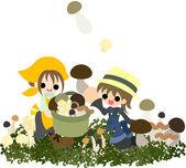 Mushroom gathering — Stock Vector