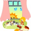 Sleeping with cats, and day breaks. — Stock Vector #32687767