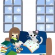 Reading books with a cat — Stock Vector