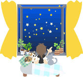 Watching starlit sky with cats — Stock Vector