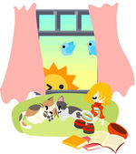 Sleeping with cats, and day breaks. — Stock Vector