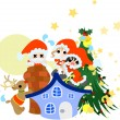 Santa Claus is distributing Christmas presents. — Stock Vector
