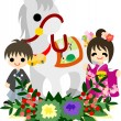 "Horses and People ""Japanese Celebration"" — Stock Vector"