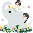 Stock Vector: Elephant on flower garden.
