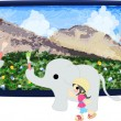 The three elephants and a big landscape picture. — Stock Vector #41456889