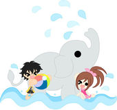 Bathing with an elephant — Stock Vector