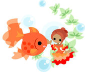 Dance of gold fishes and girls — Stock Vector