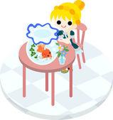 A girl and gold-fish basin — Vector de stock