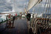 Sailing ship in a storm on the ocean — Stock Photo