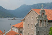 Town of Perast, Bay of Kotor and Lovcen mountain — Stock Photo
