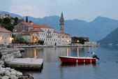 Evening Perast village near Kotor, Montenegro — Stock Photo