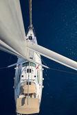 查看从帆船游艇上桅杆 — 图库照片