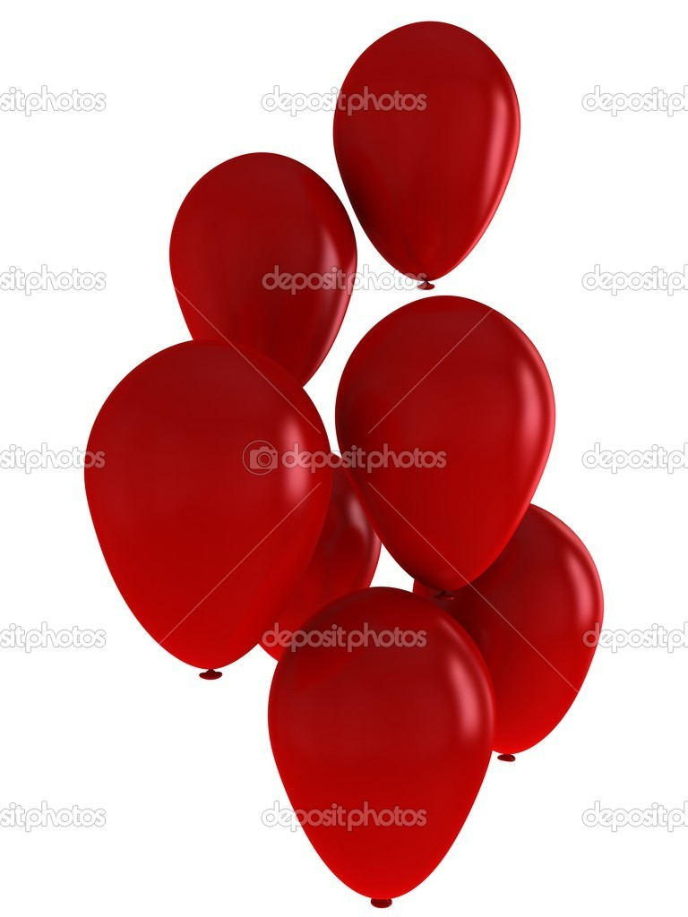 Seven magnificent red balloons, close-up on a white background.  Foto de Stock   #18997761