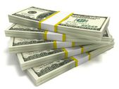 Stacks of Hundred Dollar Bills — Stock Photo