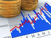 Stacked Coins on Chart — Stock Photo