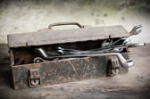 Old Tools Box with wrench — Stock Photo