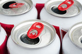 Part of empty aluminum can with red opened — Stok fotoğraf