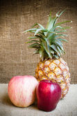 Apple with pine apple — Stock Photo