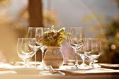 Served table at summer cafe — Stock Photo