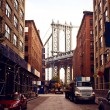 Manhattan bridge from Washington street - Stock Photo