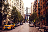 Manhattan bridge från washington street — Stockfoto