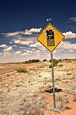 Road sign full of shotgun holes — Foto Stock